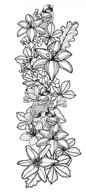 Szkic rysunek ptak tatuaż i kwiat Premium Wektorów