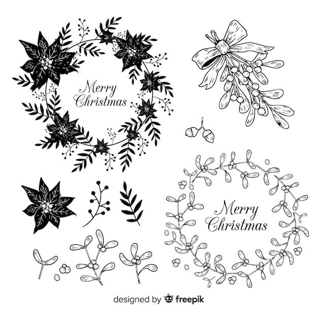 Szkic świątecznych kolekcji kwiatów i wieńców Darmowych Wektorów