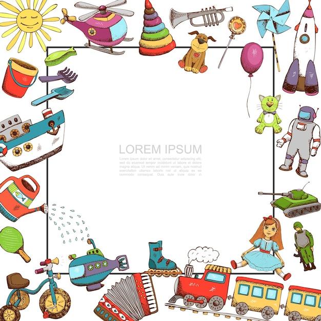Szkic Szablon Zabawki Z Ilustracją Ramki Darmowych Wektorów
