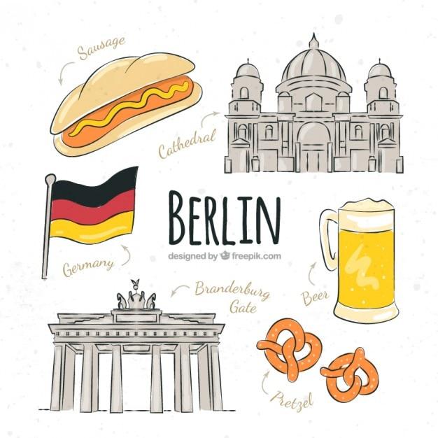 Szkice berlin typowe rzeczy Darmowych Wektorów