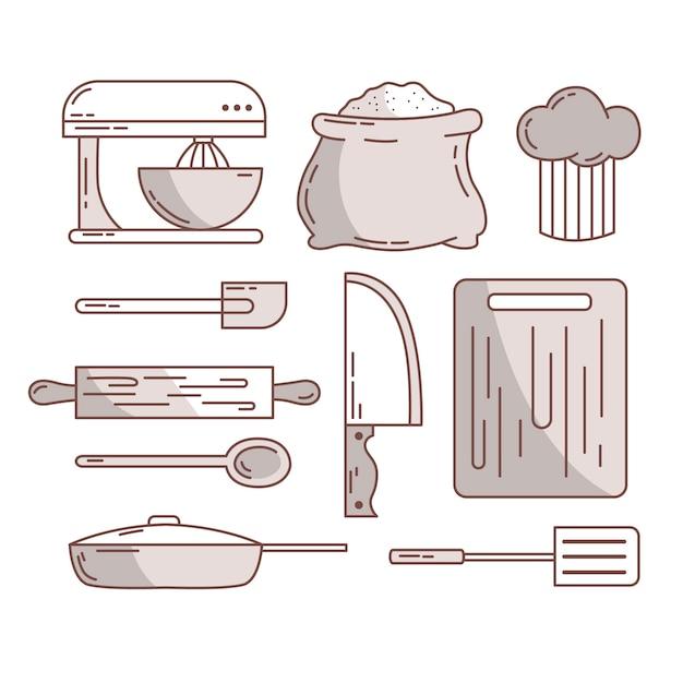 Szkice Sztućców I Akcesoriów Kuchennych Darmowych Wektorów