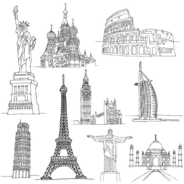 Szkice znanych miejsc. słynne budynki na świecie Premium Wektorów