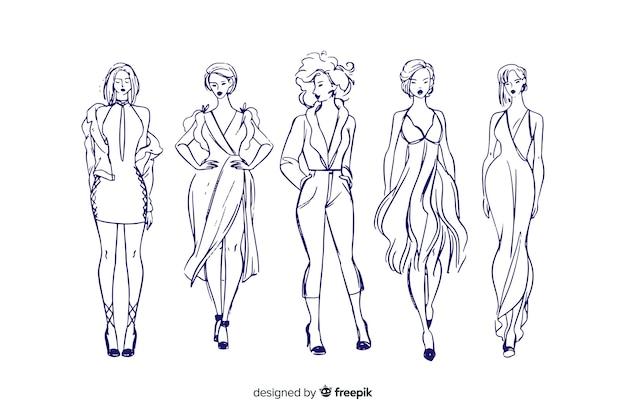 Szkicowa kolekcja modeli mody Darmowych Wektorów