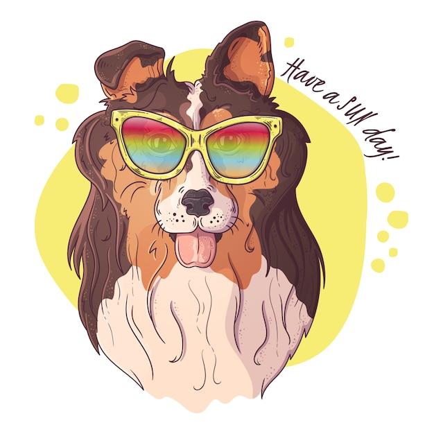 Szkicowanie Ilustracji. Portret ładny Pies W Okularach. Premium Wektorów