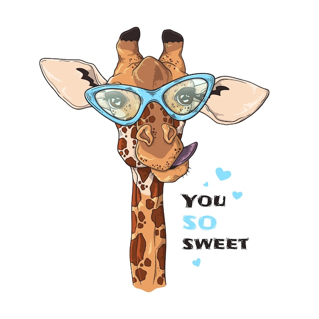 Szkicowanie Ilustracji. Portret śmieszna żyrafa W Obyczajowych Szkłach. Premium Wektorów