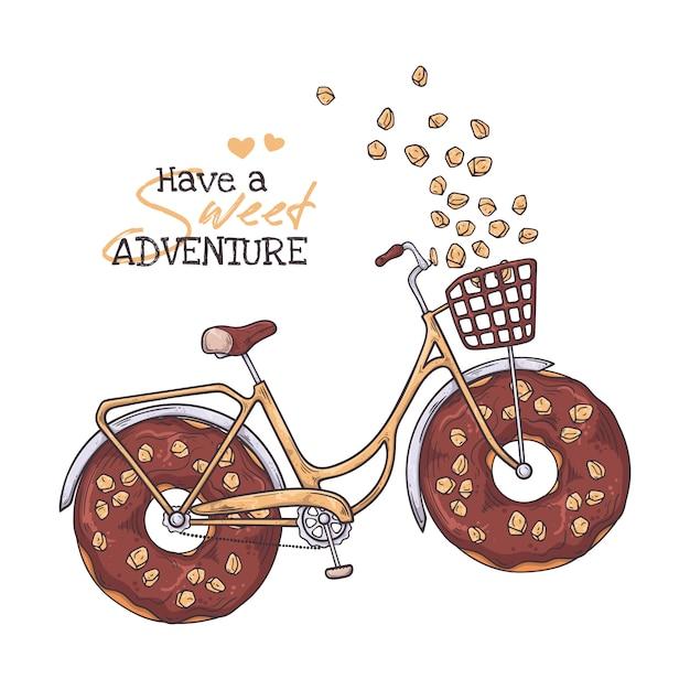 Szkicowanie Ilustracji. Rower Z Pączkami Zamiast Kół. Premium Wektorów