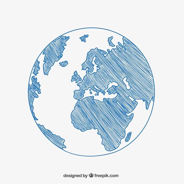 Szkicowy rysunek kuli ziemskiej Darmowych Wektorów
