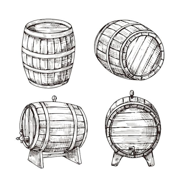 Szkicuj Beczki. Dębowe Beczki Z Whisky. Drewniana Beczka Na Wino W Stylu Vintage. Bar, Pub I Browar Premium Wektorów