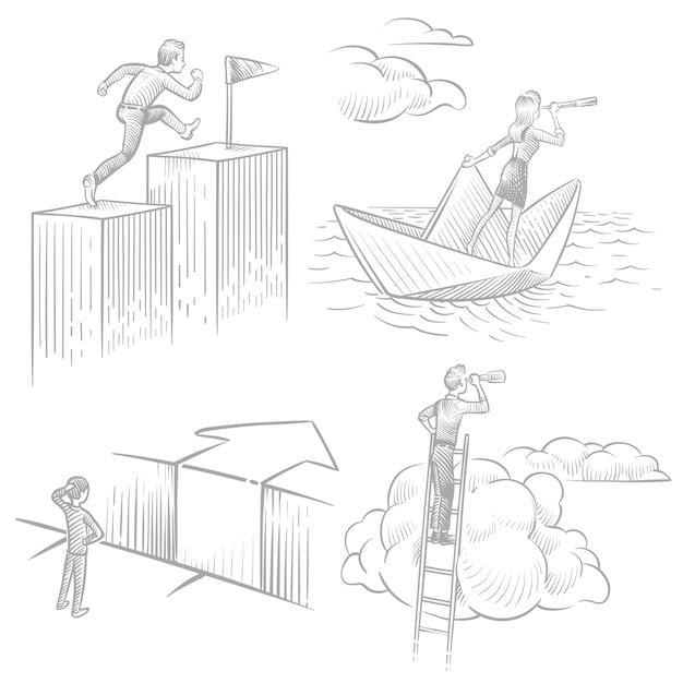 Szkicuj Ludzi Biznesu W Poszukiwaniu Rozwiązań, Sukcesu Zawodowego, Nowej Koncepcji Pomysłów Premium Wektorów