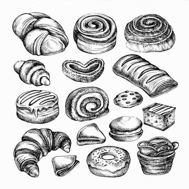 Szkicuj Produkty Piekarnicze. Różne Rodzaje Bułek, Chleb Grawerowany Ilustracja Piekarnia Premium Wektorów