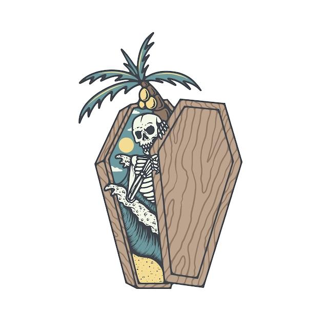Szkielet Czaszki śmierci Summer Beach Ilustracji Premium Wektorów