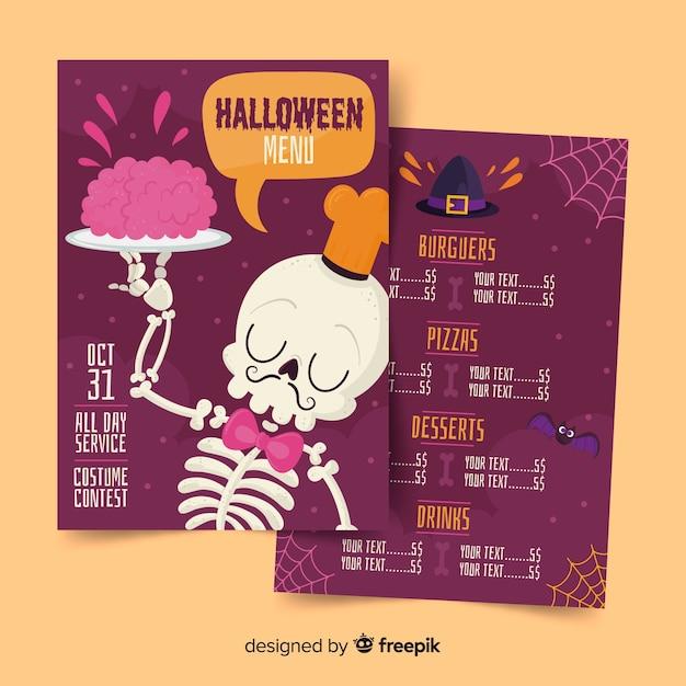 Szkielet kelner z mózgami na talerzu menu halloween Darmowych Wektorów