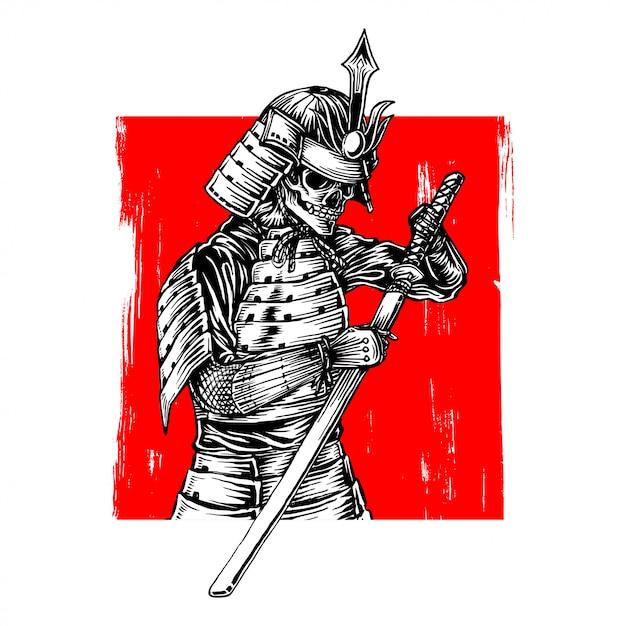 Szkielet samuraj wojownik Premium Wektorów