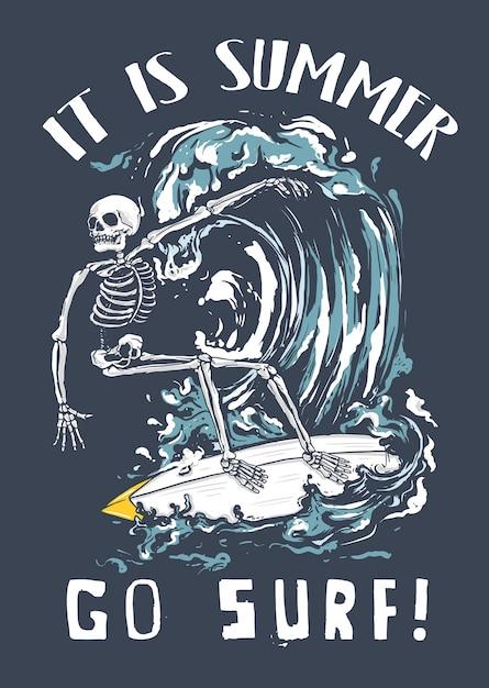 Szkielet Surfowania Na Fali Premium Wektorów