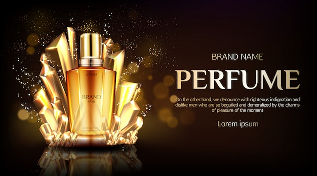 Szklana butelka perfum na złożonym złotym jedwabiu Darmowych Wektorów