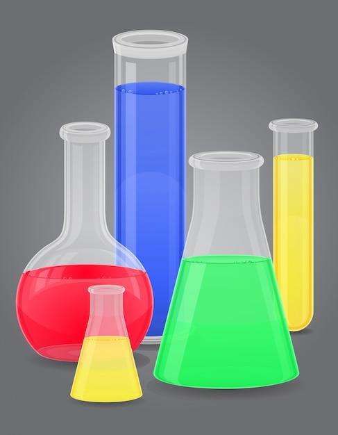 Szklana probówka z kolorowym płynem. Premium Wektorów