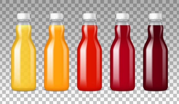 Szklane Butelki Z Sokiem Darmowych Wektorów