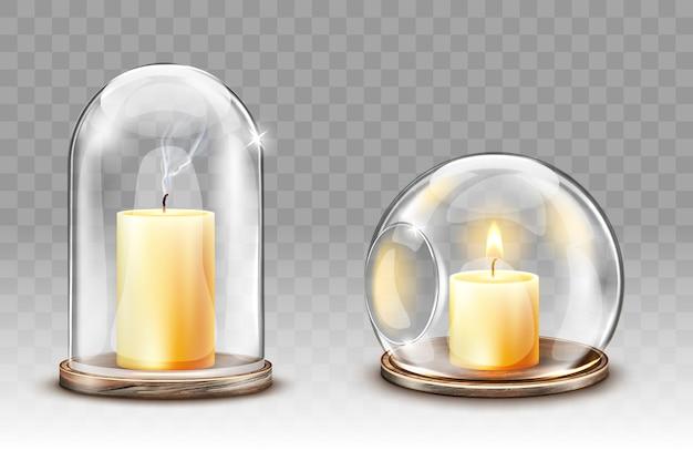 Szklane Kopuły Z Otworem, Realistyczny świecznik Darmowych Wektorów