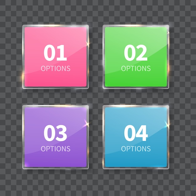 Szklane Kwadraty Liczby Ustawione Na Białym Tle Na Szarym Tle. Liczba Opcji. Premium Wektorów