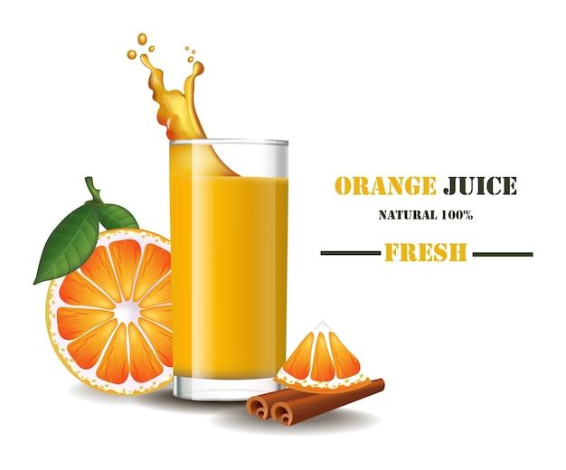 Szklanka świeżego soku pomarańczowego z powitalny realistyczne ilustracje makiety Premium Wektorów