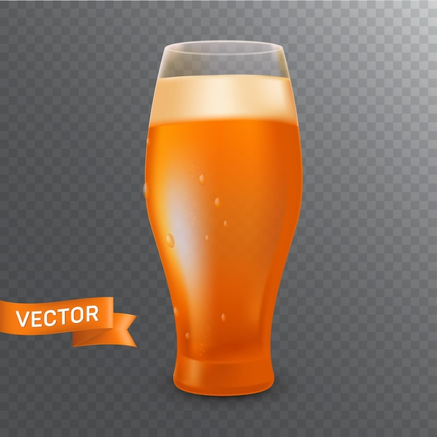 Szklanka Z Kuflem Zimnego Jasnego Piwa, Pianą, Bąbelkami I Kroplami. Realistyczna Ilustracja Na Przezroczystym Tle Premium Wektorów