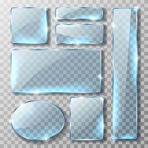 Szklany baner lub talerz, realistyczny zestaw Darmowych Wektorów