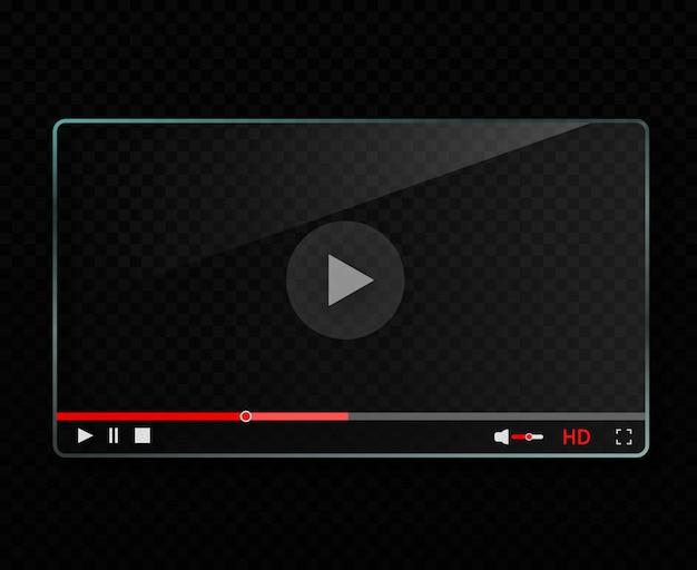 Szklany odtwarzacz wideo Premium Wektorów