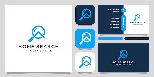 Szkło Powiększające I Projekt Logo Domu Ikona Symbol Szablon I Projekt Wizytówki Premium Wektorów