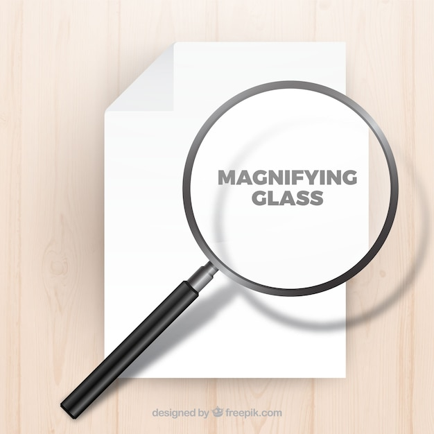 Szkło Powiększające Tło W Realistyczny Styl Darmowych Wektorów