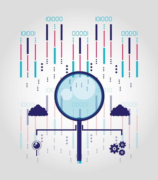 Szkło powiększające z centrum danych i obwodami Premium Wektorów