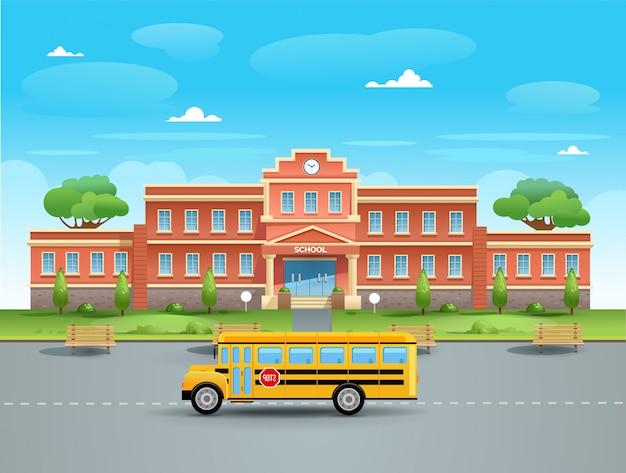 Szkoła. Autobus Szkolny W Szkole Premium Wektorów