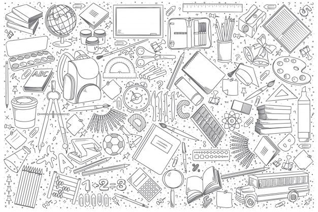 Szkoła Doodle Wektor Zestaw Premium Wektorów