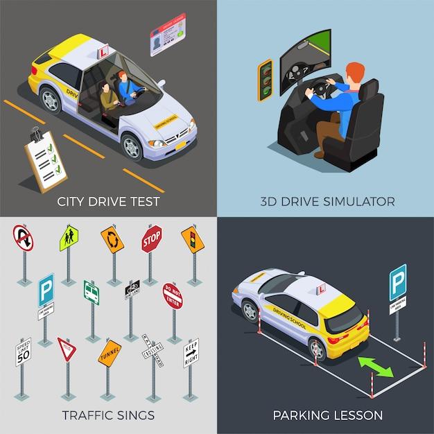 Szkoła Jazdy Z Kompozycjami Znaków Drogowych Jeździ Symulatorami Samochody Ilustracyjne Darmowych Wektorów
