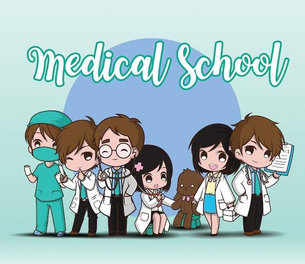 Szkoła medyczna. lekarz postać z kreskówki Premium Wektorów