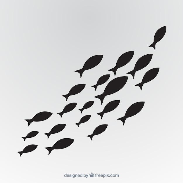 Szkoła ryba tło w ręka rysującym stylu Darmowych Wektorów