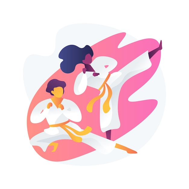 Szkoła Sztuk Walki. Kopnięcie I Postawa Karate. Trening Kungfu. Trening Taekwondo, Zawodnicy Jiu Jitsu, Klasa Judo. Bojownicy W Kimonach. Aktywność Fizyczna. Darmowych Wektorów