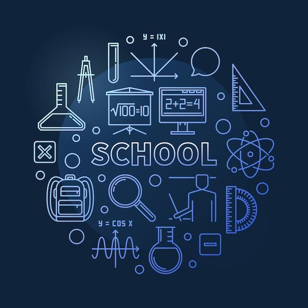 Szkoła Wektor Koncepcja Niebieski Okrągły Ilustracja Kontur Premium Wektorów