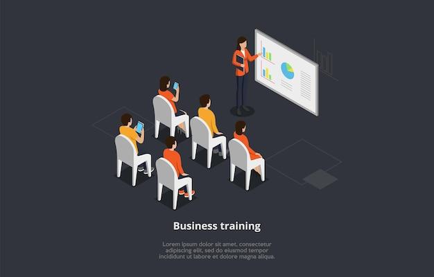 Szkolenia Biznesowe Lub Ilustracja Koncepcja Kursu. Izometryczny Skład 3d Z Grupą Osób Studiujących Z Ekranu Premium Wektorów