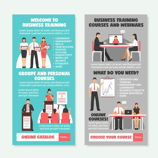 Szkolenia biznesowe pionowe banery Darmowych Wektorów