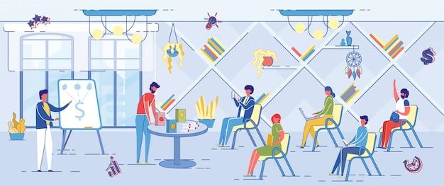 Szkolenie biznesowe, coaching korporacyjny firmy. Premium Wektorów