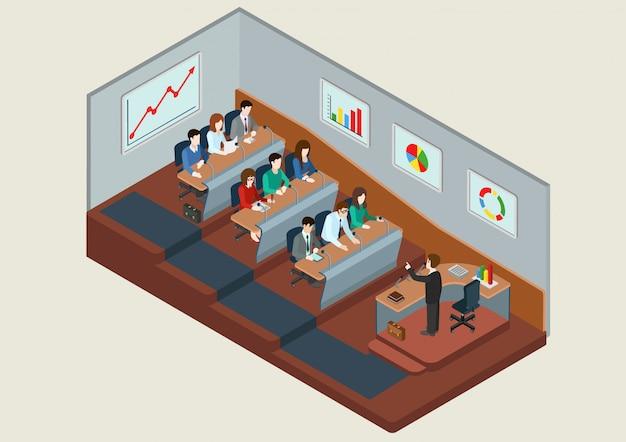 Szkolenie Biznesowe Koncepcja Edukacji Izometryczny Ilustracja Ludzie W Słuchowym Słuchaniu Wykładowcy Darmowych Wektorów