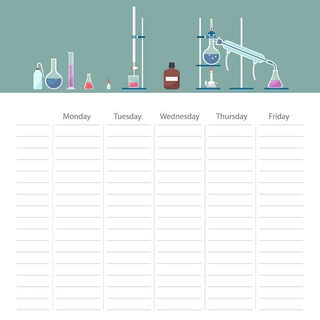 Szkolna karta harmonogramu z tematem kursu chemii Premium Wektorów