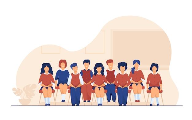 Szkolni Ucznie Pozuje Dla Klasowego Portreta W Sala Lekcyjnej Darmowych Wektorów