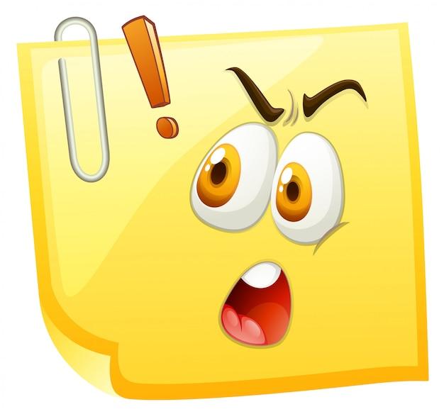 Szokująca Twarz Na żółtym Papierze Darmowych Wektorów