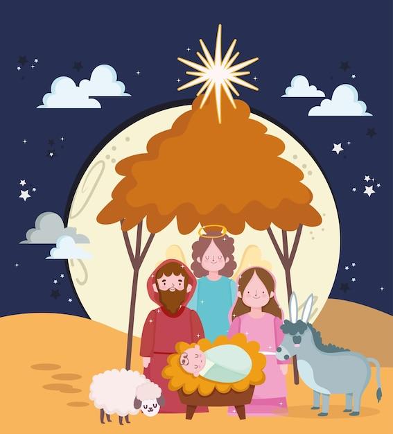 Szopka, śliczna Najświętszej Maryi Panny Dzieciątkiem Jezus I Józef żłobie Ilustracja Kreskówka Premium Wektorów