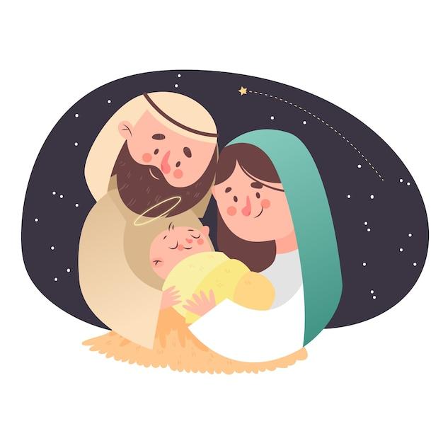 Szopka szczęśliwa rodzina z gwiaździstą nocą Darmowych Wektorów