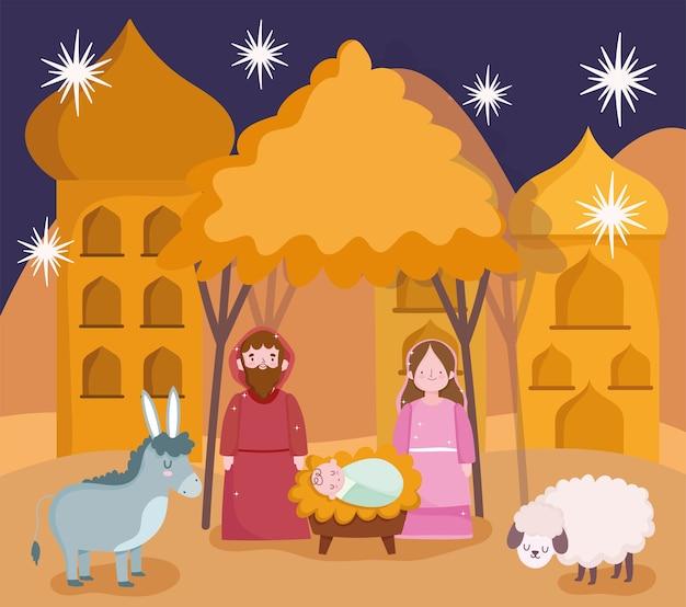Szopka, żłób śliczna Maryja Józef Dzieciątko Jezus I Zwierzęta Kreskówka Scena Wektor Ilustracja Premium Wektorów