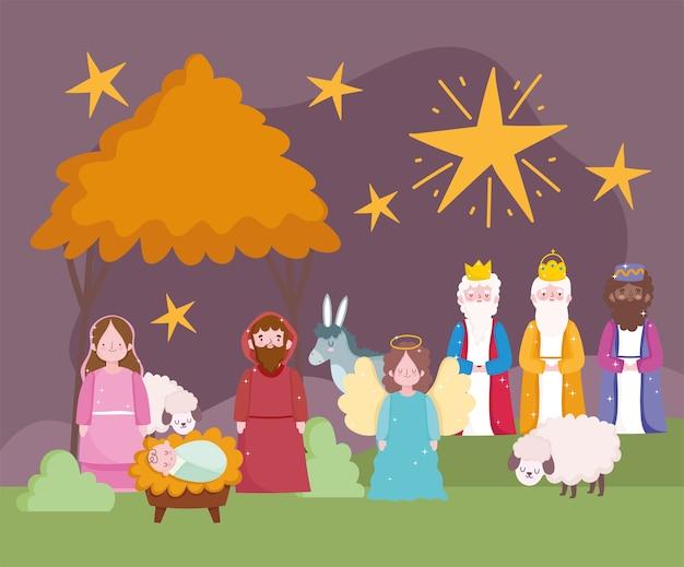 Szopka, żłób śliczna Maryja Józef Dziecko Jezus Trzech Królów Osioł I Baranki Kreskówka Wektor Premium Wektorów