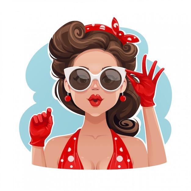Szpilki dziewczyna jest ubranym okulary przeciwsłonecznych ilustracyjnych Premium Wektorów