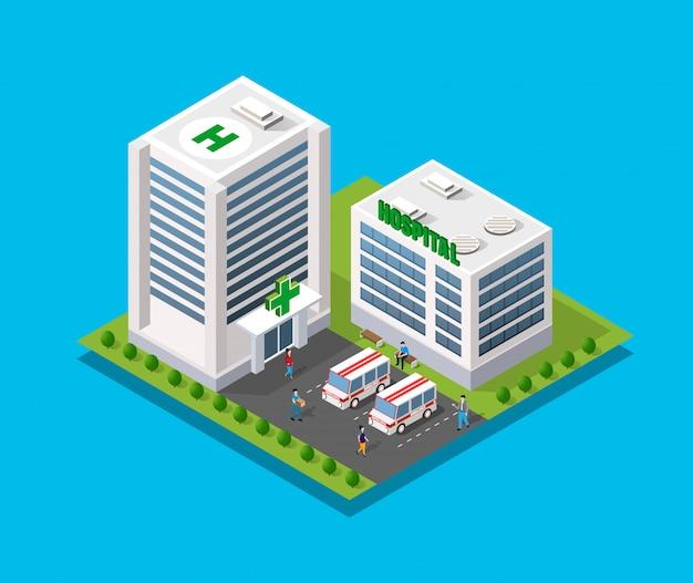 Szpital izometryczny 3d budynku Premium Wektorów